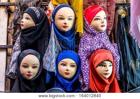 Hijabs for sale at Vakil Bazaar in Shiraz city in Iran