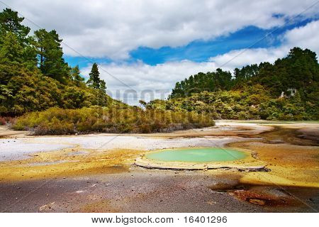 Geothermal field in Wai-O-Tapu thermal area, New Zealand