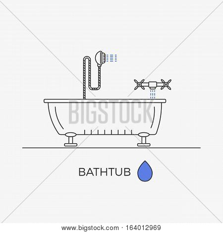 Bathtub, shower and faucet thin line icons in one composition. Bathroom elements. Vector image.