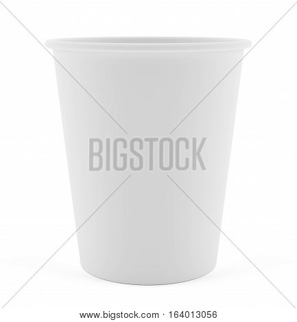 White Paper Cup close up. Isolated on white. 3D illustration