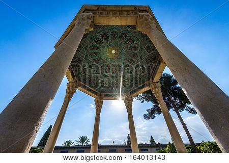 pavilion over Tomb of Hafez poet in Shiraz city in Iran