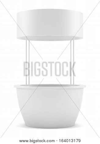 White round POS POI advertising retail stand. Isolated on white. 3D illustration. Template