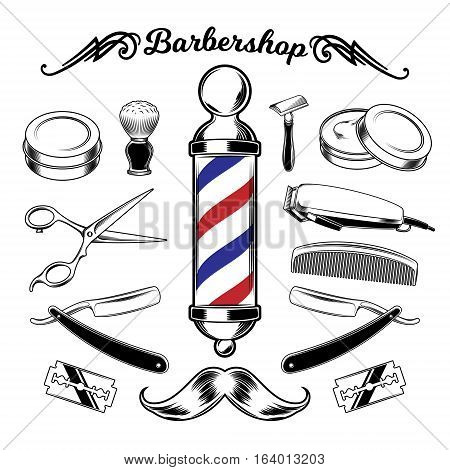 Vector monochrome collection barbershop tools. Engraving style