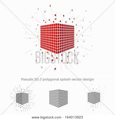 Pseudo 3d vector cube illustration with splash surrounding. Logo design for strategic planning, data protection or other business or technological spheres.