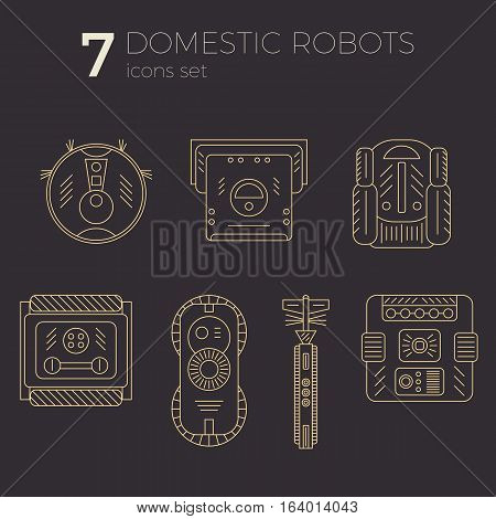 Vector icons set of domestic robots in line art style. Different types of robots. Can be used as web-site or infographic elemets, in print design.
