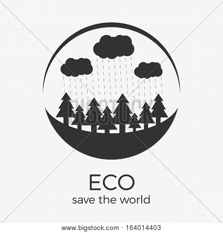 Vector eco style logo design. Round shape with text. Can be used as eco-sign on product packages or as separate logo for eco-oriented organization
