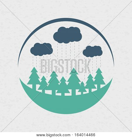 Vector eco style rounded flat logo design in colors. Forest, clouds and rain. Can be used as eco-sign on product packages or as separate logo for eco-oriented organization.