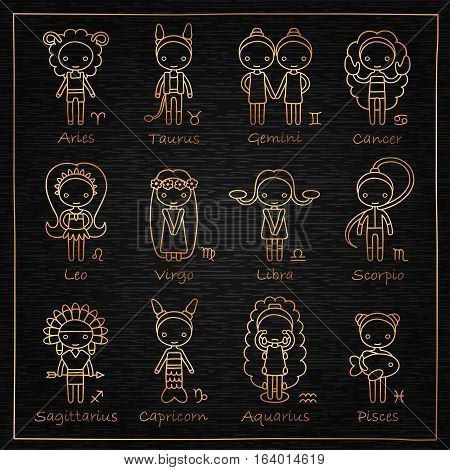 vector set of the twelve hand drawing golden Zodiac signs Aries, Taurus, Gemini, Cancer, Leo, Virgo, Libra, Scorpio, Sagittarius, Capricorn, Aquarius, Pisces and black wooden background