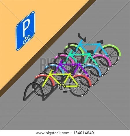 Cycle parking with sign on the wall vector illustration. Bicycles parked on the street.