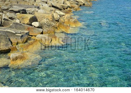Beautiful rocky seashore background. Limassol in Cyprus.