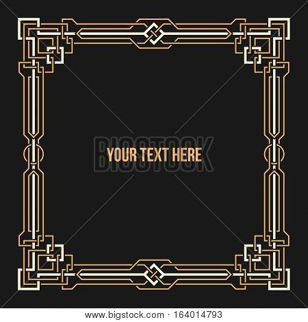 Art Deco Geometric Border On Dark Background. Useful For Presentations And Advertising.