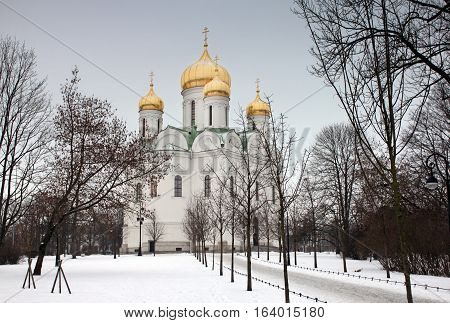 PUSHKIN RUSSIA - DECEMBER 15 2016: View of the Orthodox Saint Catherine Cathedral in Pushkin town (Tsarskoye Selo) not far from Saint-Petersburg at winter day December 15 2016