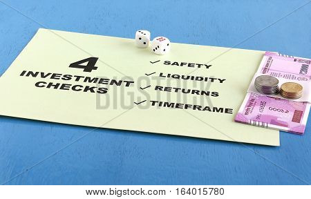 Concept of the checks an investor should make before investing. The checks are safety, liquidity, returns and timeframe.