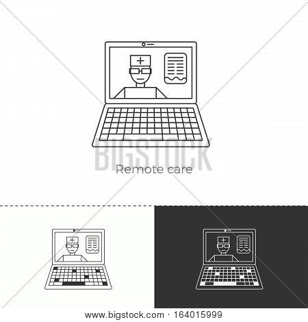 Vector illustration of future medicine trend. Medical gadgets and technological innovations. Thin line concept icon. Remote care: doctor through internet.
