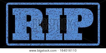 Blue rubber seal stamp with Rip text. Vector message inside rounded rectangular shape. Grunge design and scratched texture for watermark labels. Horisontal sticker on a black background.