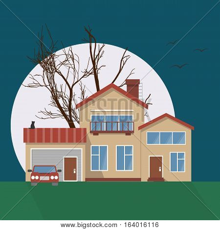 Stylish house vector illustration. Flat design image of building with moon, tree, cat silhouette and birds. Halloween!