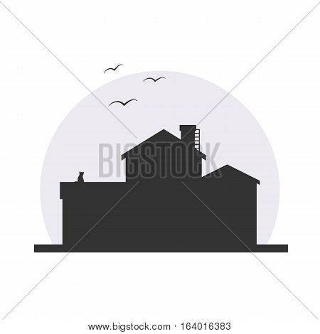 Stylish house silhouette vector illustration in dark colors with moon background. Logo or icon design, infographics element. With cat and birds.