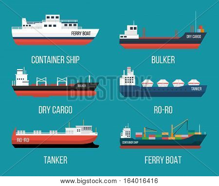 Set of ships in modern flat style. High quality delivery and shipping boats illustration. Set of container ship, bulker, ro-ro, tanker, dry cargo, ferry boat. Vector illustration isolated on a blue background.