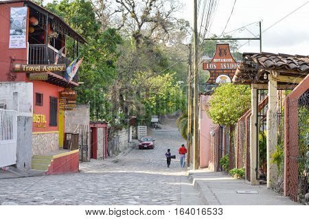 Copan Ruinas Honduras - May 10 2015: The streets and hills of a small colonial town of Copan Ruinas in Honduras Central America