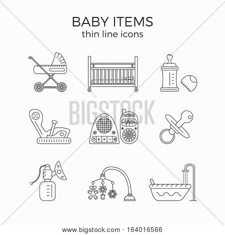 Thin line icons set of baby or infant first need items. Baby care, toys, newborn equipment. Isolated on white background. For web, infographic or print. Many details.