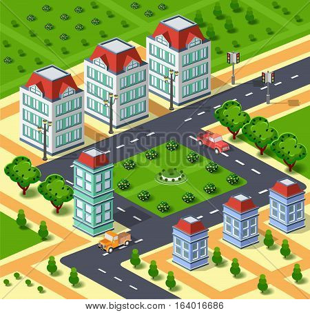 City illustration with urban infrastructure. Isometric city. Isometric view of urban houses streets roads and trees. Isometric parks and buildings. Illustration stock vector