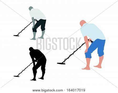 Man with shorts using metal detector on bare foot