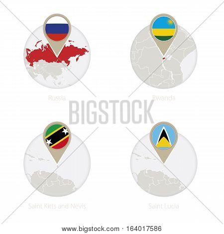 Russia, Rwanda, Saint Kitts And Nevis, Saint Lucia Map And Flag In Circle.