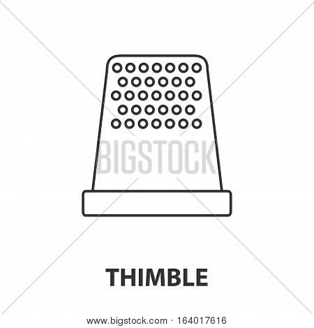 Thimble icon or logo line art style. Vector Illustration.