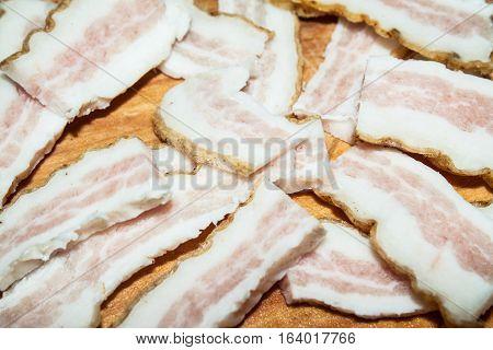 Raw pork lard close up. Food ingredients