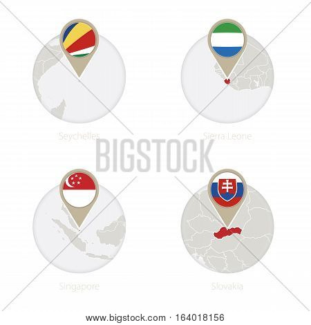 Seychelles, Sierra Leone, Singapore, Slovakia Map And Flag In Circle.
