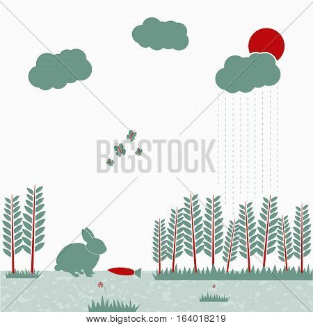 Vector illustration of nature life. Can be used for eco design posters or web-site element. Flat design in mild colors.