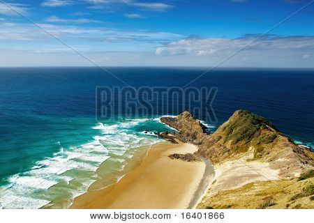 Cape Reinga, north edge of New Zealand, Indian and Pacific oceans meets here
