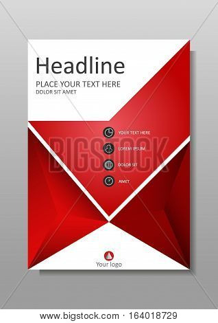 Book Cover design in red. A4 design. Annual report with geometrical figures. Good for academic publications journals portfolio monographs and magazines. Vector Illustration.