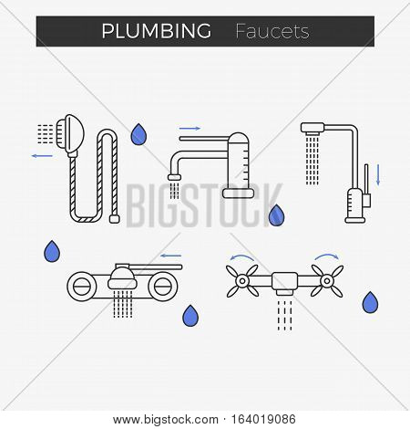 Faucets (water tap) thin line icons set. Shower included. Vector illustration for web or infographics. Equipment for bathroom or kitchen.