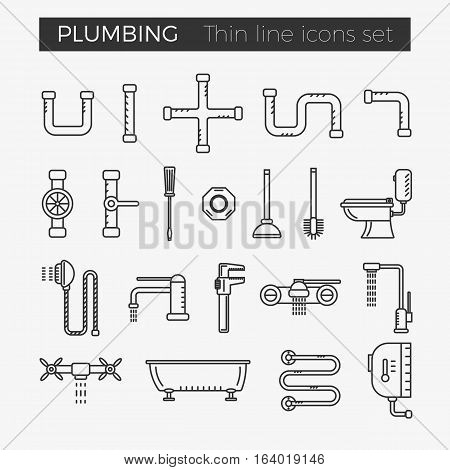 Sanitary (plumbing) engineering vector thin line icons set for web and mobile applications.