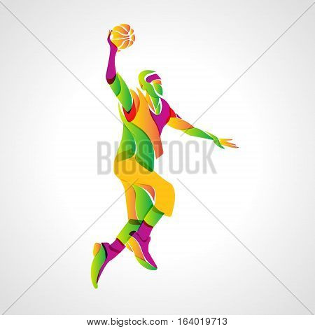 Colorful basketball player abstract silhouette. Eps 10
