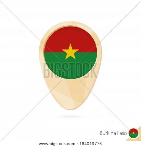 Map Pointer With Flag Of Burkina Faso. Orange Abstract Map Icon.
