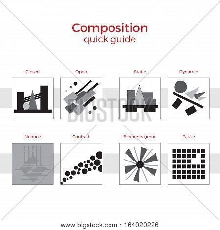 Quick guide to composition vector illustration. Simple elements explanation of basic principles in art. Pairs of images showing key methods.