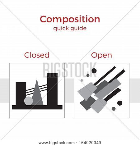 Quick guide to composition vector illustration. Simple elements explanation of basic principles in art. Pair of images showing key method.