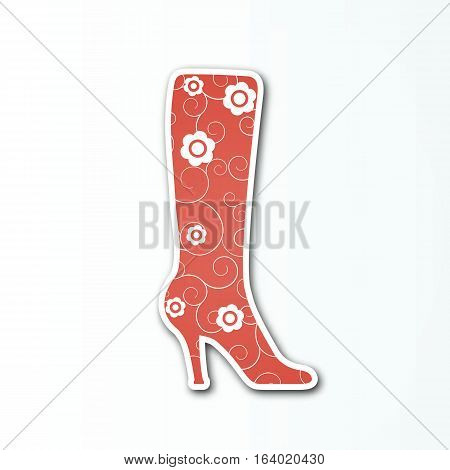Vector red boot sign with white flowers for the women's shoes collection.