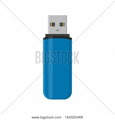 Flash drive USB memory stick isolated on white background in flat style.
