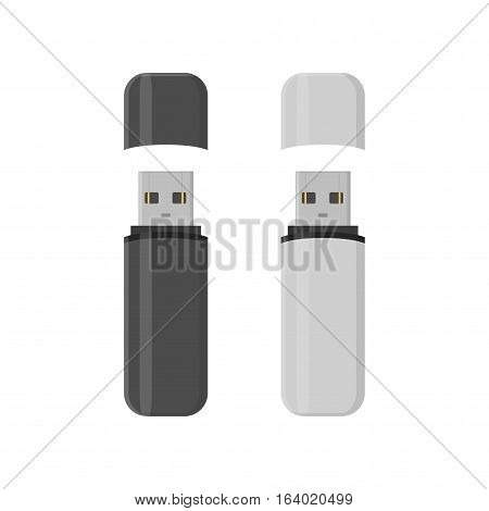 Flash drive USB memory sticks isolated on white background in flat style.