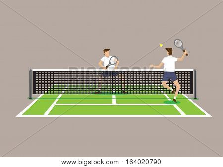 Two tennis players playing in tennis court. Vector illustration isolated on bright brown background.