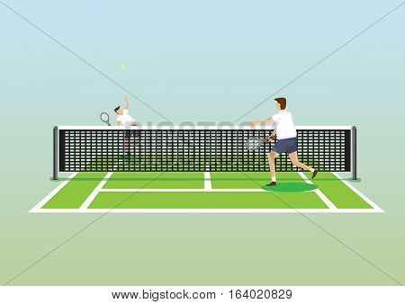 Vector illustration of two tennis players in tennis court and one serving tennis ball isolated on plain gradient background.
