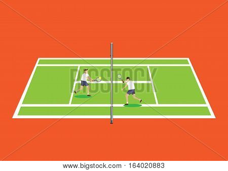 Cartoon tennis players in tennis court standing near the net hitting a volley. Vector illustration isolated on bright orange background.