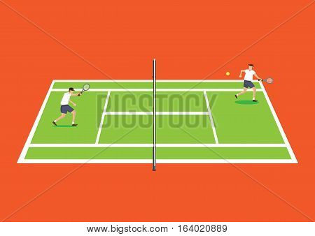 Vector illustration of two tennis players having a game in tennis court from the side in elevation view isolated on vibrant orange background.