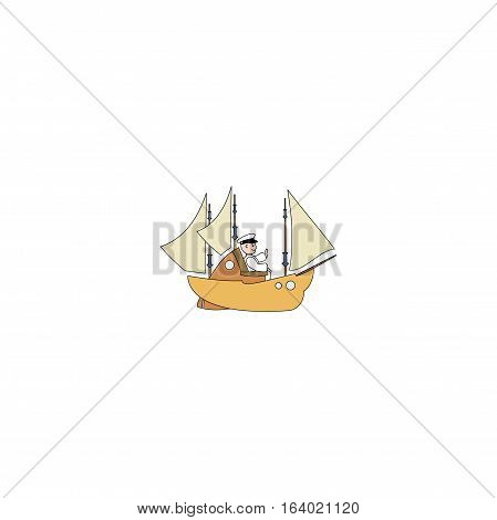 Captain and the ship isolated on a white background.
