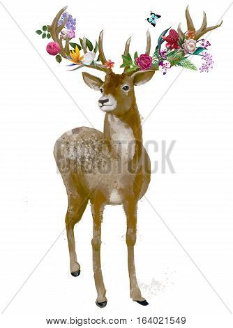 beautiful deer with floral wreath on his horns