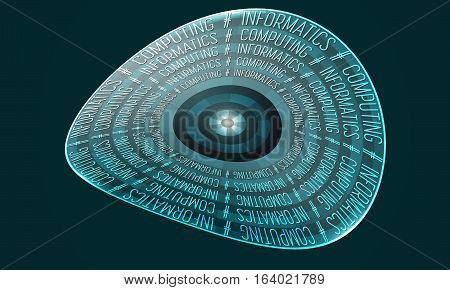 Vector glass transparency objects and the words informatics computing