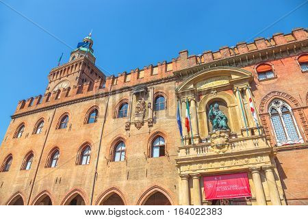 Bologna, Italy - May 28, 2016: Palazzo d'Accursio or Comunale, built in 1290, overlooking Piazza Maggiore, today the seat of the municipality of Bologna in Emilia-Romagna.